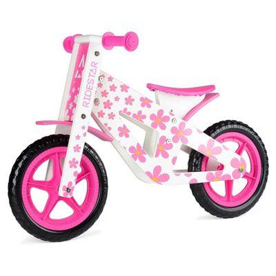 RideStar Pattern Wooden Balance Bike - Pink