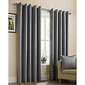 Memphis Eyelet Lined Curtains - Silver