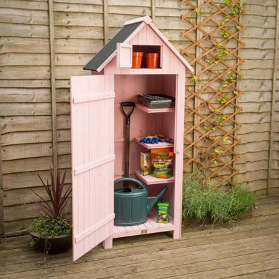 Christow Small Garden Sentry Shed With Lockable Door - Pink