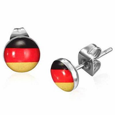 Urban Male Men's Stainless Steel Flag Of Germany Stud Earrings 7mm