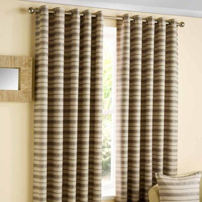Homescapes Contemporary Silver and Beige Striped Eyelet Curtains 66x72