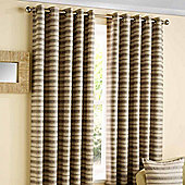"""Homescapes Contemporary Silver and Beige Striped Eyelet Curtains 66x72"""""""