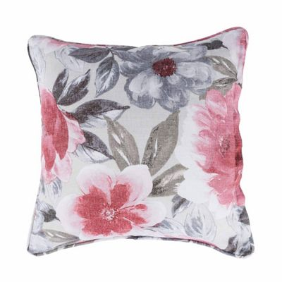 Homescapes Pink and Grey Decorative Floral 'Sofia' Cushion Cover, 45 x 45 cm