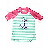 Banz Girls UV Short Sleeved Rash Top   Anchor - Pink & Multi