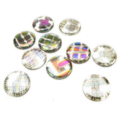 Peacock Beads 16mm Round, Pack of 10, assorted designs