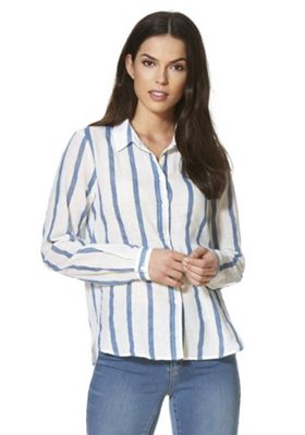 Vero Moda Striped Shirt with Linen XS White & Blue