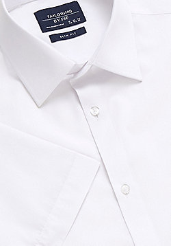F&F Short Sleeve Easy Care Slim Fit Shirt - White