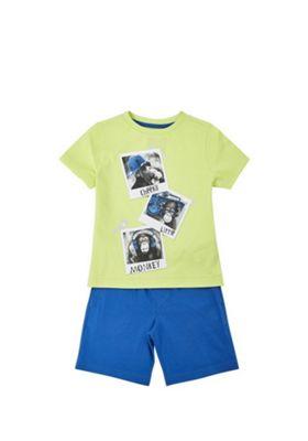 F&F Monkey Polaroid T-Shirt and Shorts Set Lime/Blue 12-18 months