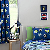 Catherine Lansfield Football Blue Pencil Pencil Curtains 66x72 Inches (168x183cm)
