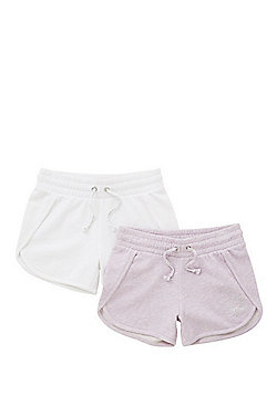 F&F 2 Pack of Drawstring Jersey Shorts - Lilac & White