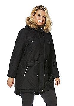 Junarose Faux Fur Trim Plus Size Parka - Black