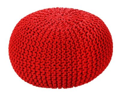 EHC Braided Hand Knitted Round Foot Stool Pouffe, Tango