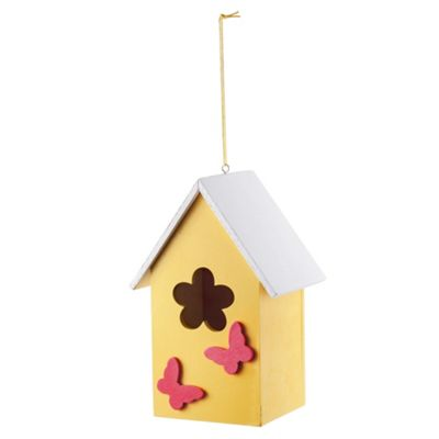 Hanging Painted Yellow Wooden Bird House with Butterflies