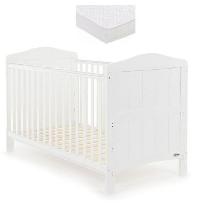 Obaby Whitby Cot Bed and Sprung Mattress- White