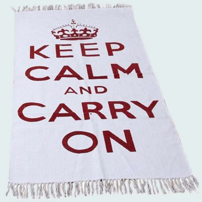 Homescapes Keep Calm And Carry On Red White Rug Hand Woven Base, 60 x 100 cm