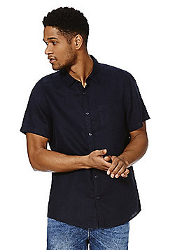 F&F Linen Short Sleeve Shirt - Navy