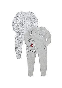Disney 2 Pack of Winnie the Pooh Sleepsuits - Grey & White