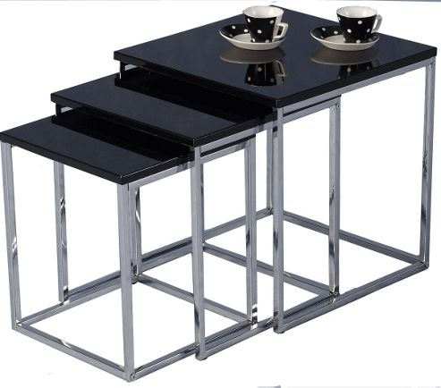 Charisma Gloss Black and Chrome Nest of Tables