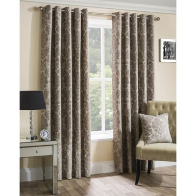 Oxford Street Latte Lined Eyelet Curtains - 46x54 Inches (117x137cm)