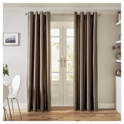 Tesco Faux Silk Curtains- Mocha  - 66x54