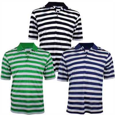 Woodworm Pro Stripe Mens Golf Polo Shirts - 3 Pack Small