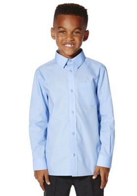 F&F School 2 Pack of Boys Easy Care Long Sleeve Shirts Blue 10-11 years