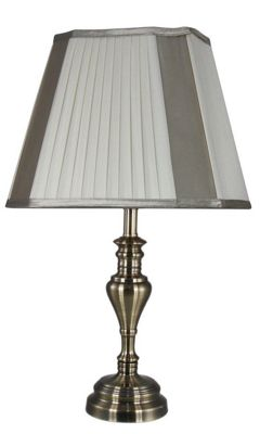Decorative Table Lamp Chrome Finish Ivory Shade Antique Style