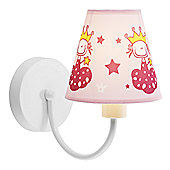 Pink Cotton and White Gloss Metal Childrens Wall Light