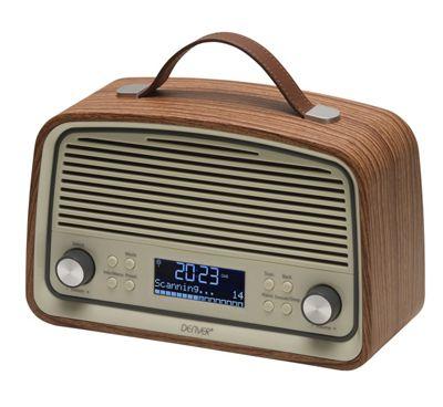 Denver DAB-38 Dark Wood Retro DAB Radio with 2.4 Inch Display, DAB+ and Clock / Alarm