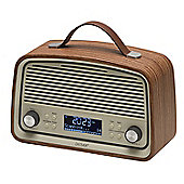Denver DAB-38 Dark Wood Retro DAB Radio with 2.4 Inch Display, DAB+ and Clock / Alarm