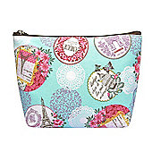 Medium Mint Vintage Paris Print Make Up Bag