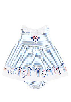 Disney Minnie Mouse Striped Flared Dress and Knickers Set - Blue & White