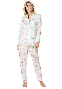 F&F Revere Collar Floral Pyjama Set - Multi green