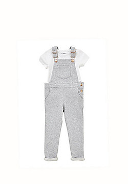 F&F Jersey Dungarees and T-Shirt Set - Grey