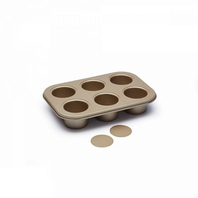 Kitchen Craft Paul Hollywood 6-Hole Deep Baking Tin, Non-Stick Layer, 27 cm (Gold)
