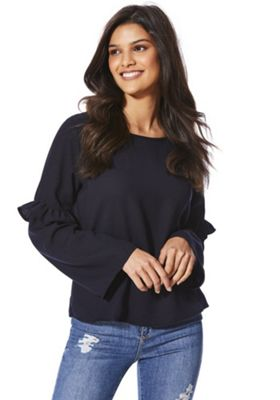 Only Frill Sleeve Top S Black