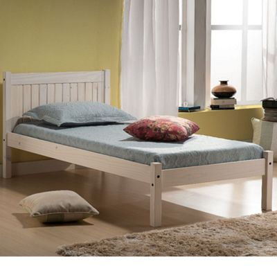 Happy Beds Rio Wood Low Foot End Bed with Orthopaedic Mattress - White - 3ft Single