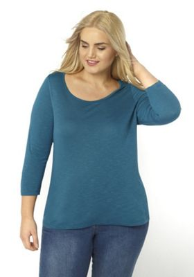 Evans 3/4 Sleeve Plus Size T-Shirt Teal 30-32