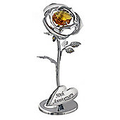 """""""50th Anniversary"""" Silver Plated Flower with Golden Swarovski Crystal Glass"""