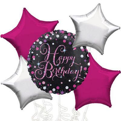 Happy Birthday Pink Sparkling Celebration Balloon Bouquet - Assorted Foil