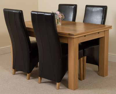 Richmond Solid Oak Extending 140 - 220 cm Dining Table with 4 Black Lola Leather Dining Chairs