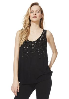 F&F Scattered Stud Vest Top Black 6