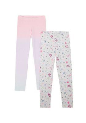 F&F 2 Pack of Roller Skate Print Leggings Pink/Grey 5-6 years
