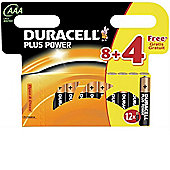 12 x Duracell AAA MN2400 Plus Power Batteries
