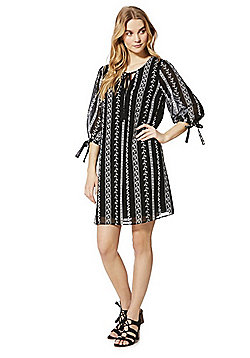 F&F Embroidered Stripe Peasant Dress - Black