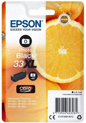 Epson Singlepack Photo Black 33XL Claria Premium Ink C13T33614012