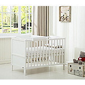 Orlando Cot Bed Cotbed top changer With Free Water Repellent Mattress (White)