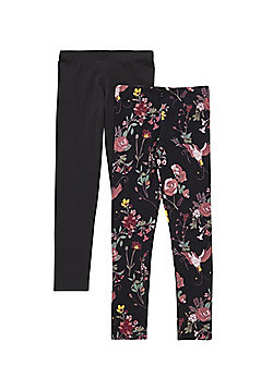 F&F 2 Pack of Sparkle Floral and Plain Leggings - Black