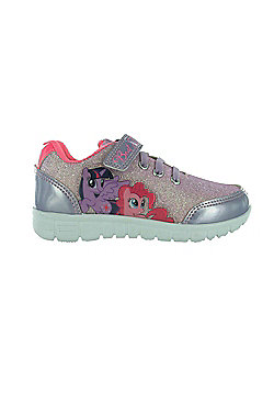 Girls MLP My Little Pony Glitter Pink Hook & Loop Trainers Joggers Shoes UK Sizes 6 - 12 - Pink