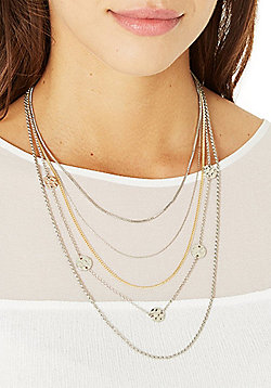 Pieces 5 Strand Embellished Long Necklace